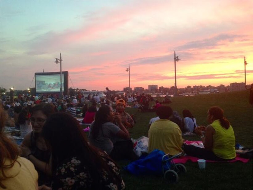 EHS Residents catching a movie AND a view by the Hudson River